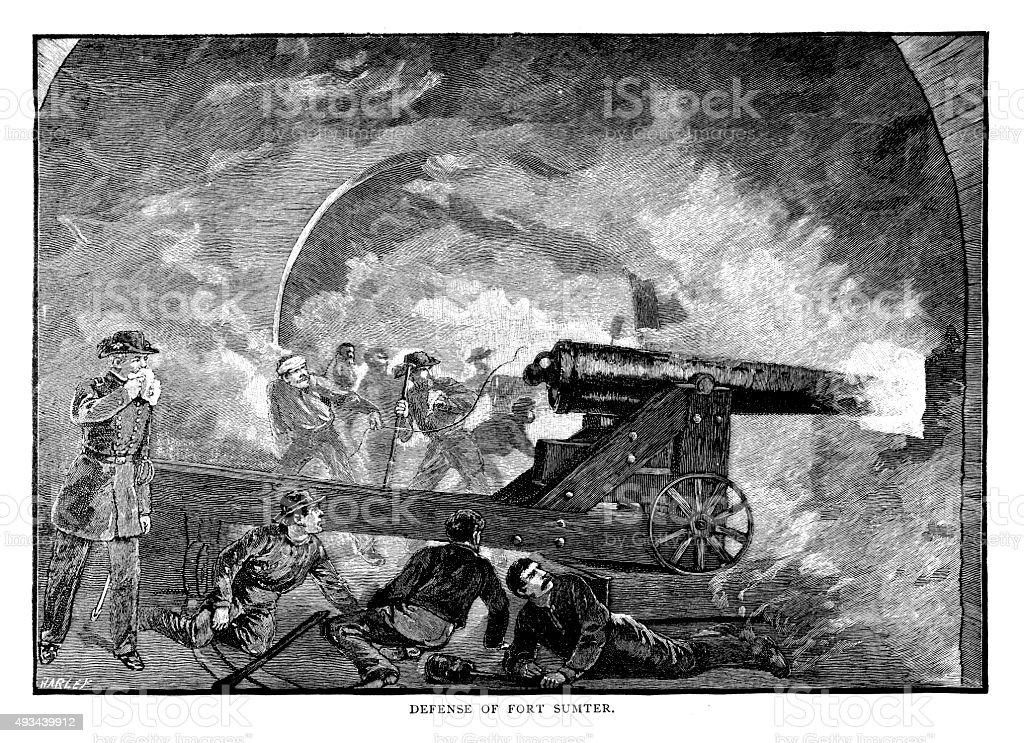 Defense of Fort Sumter vector art illustration