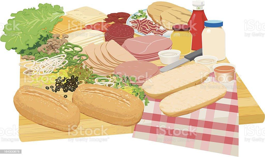 delicatessen table spread for picnic sandwiches vector art illustration