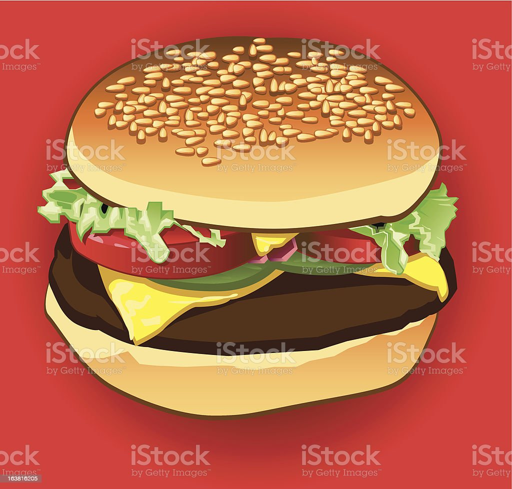 Delicious Cheeseburger royalty-free stock vector art