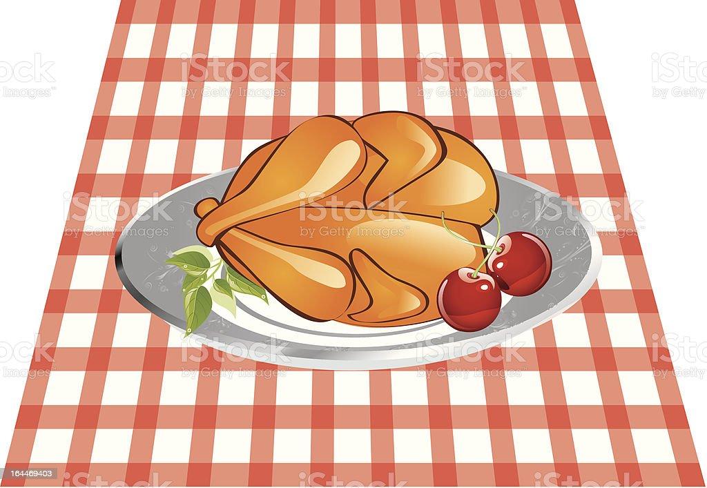 Delicious roast chicken royalty-free stock vector art