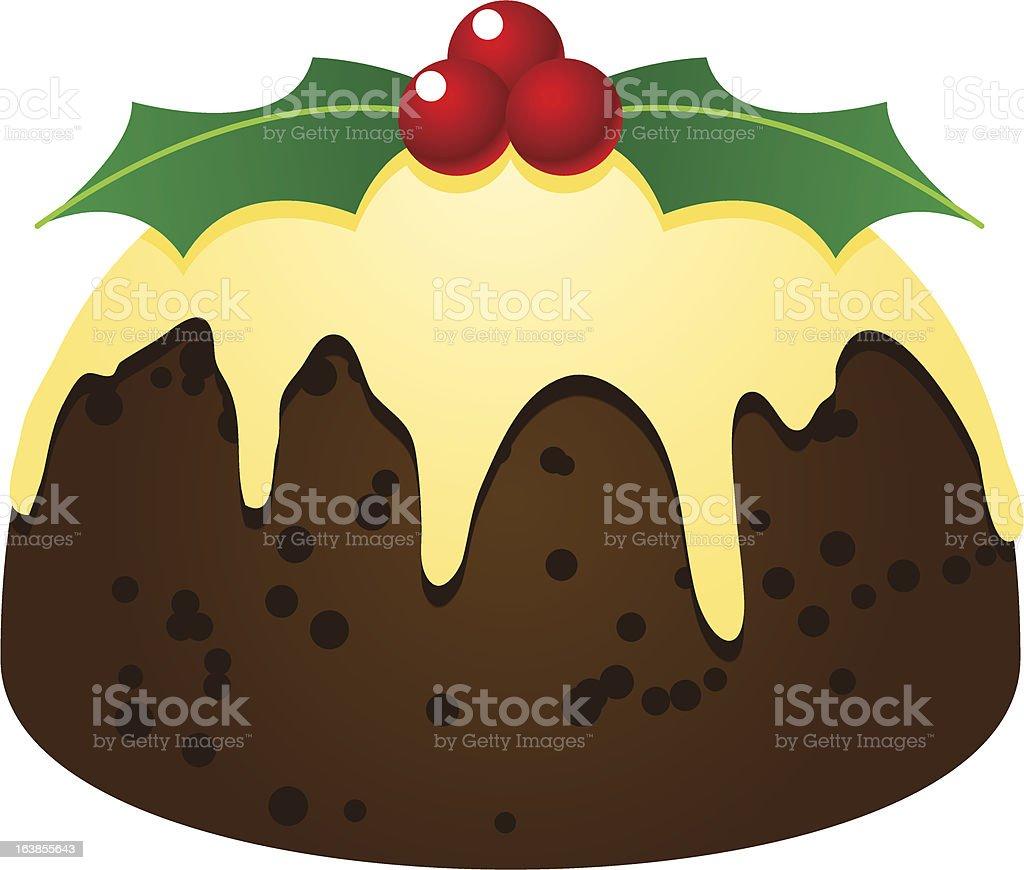 delicious Xmas fruitcake pudding dessert vector art illustration