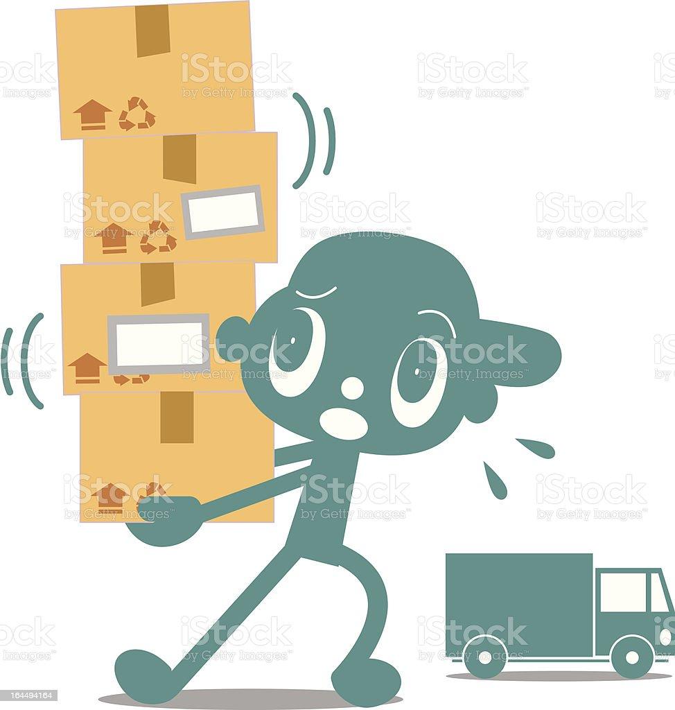 Deliveryman brings packages vector art illustration