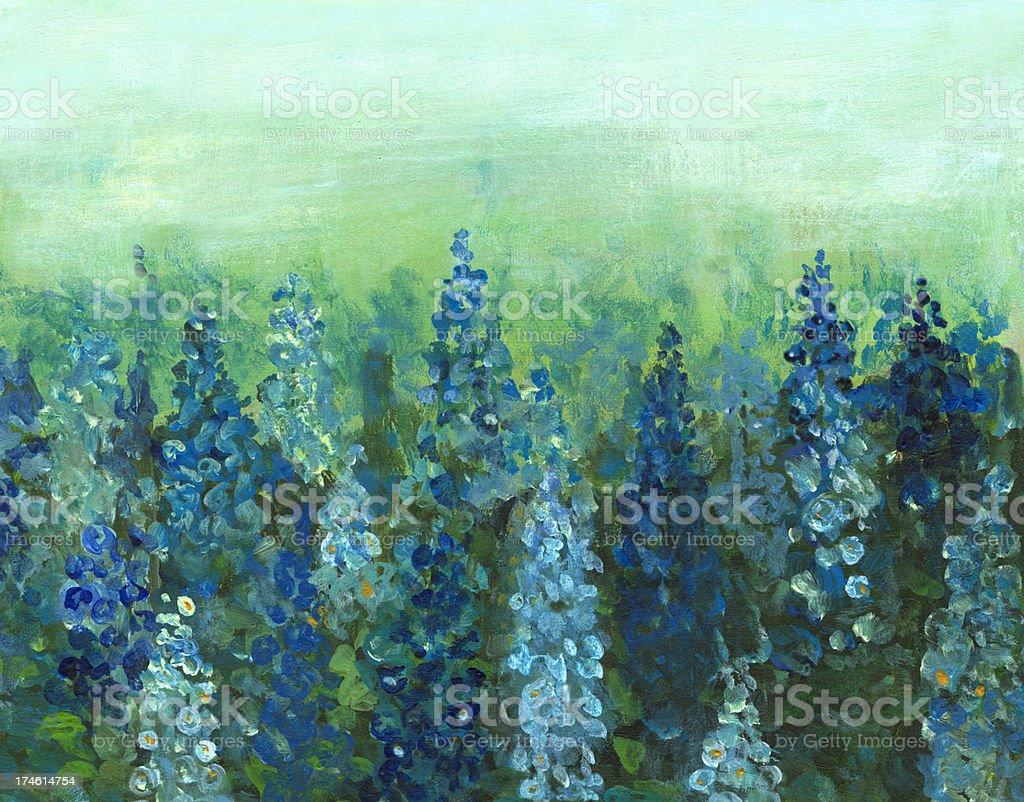 Delphinium  Flower Bed royalty-free stock vector art
