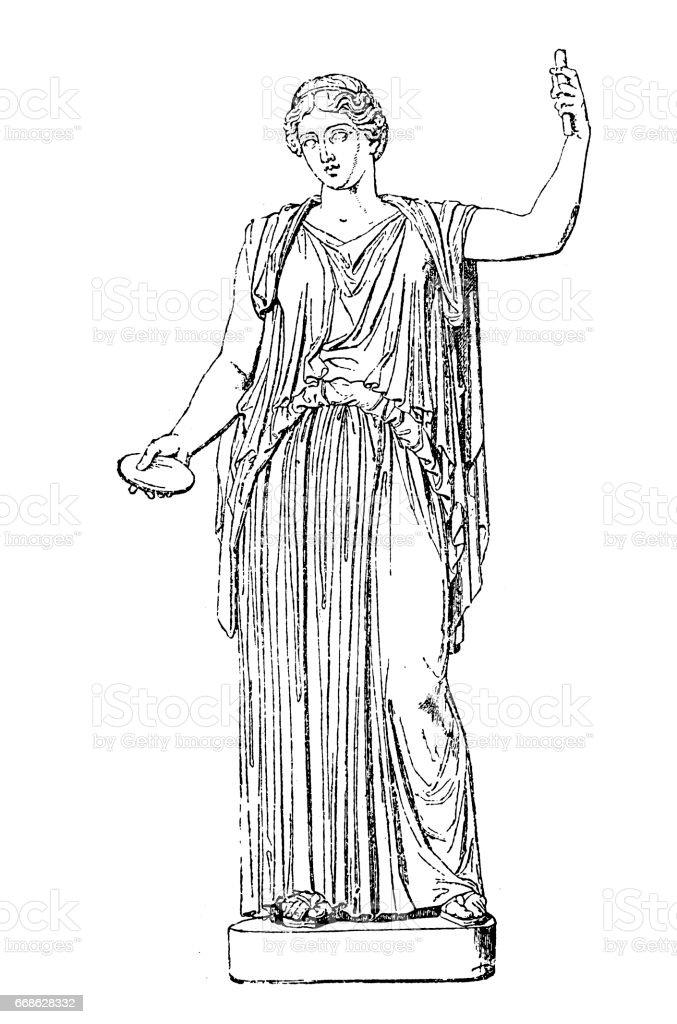 Demeter, Greek goddess vector art illustration