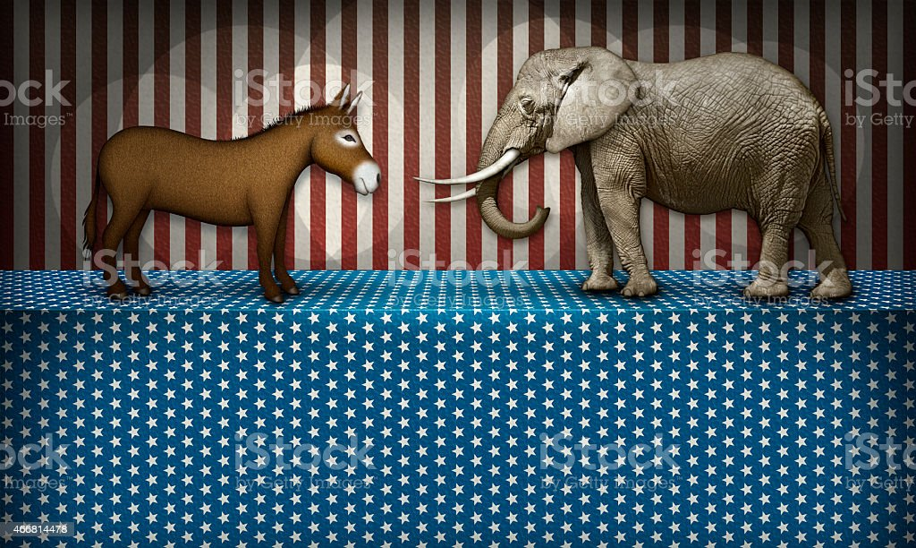 Democrat Donkey And Republican Elephant On A Patriotic Stage vector art illustration