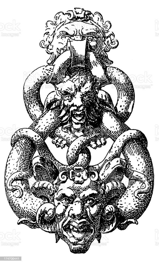 demon Door Knocker royalty-free stock vector art
