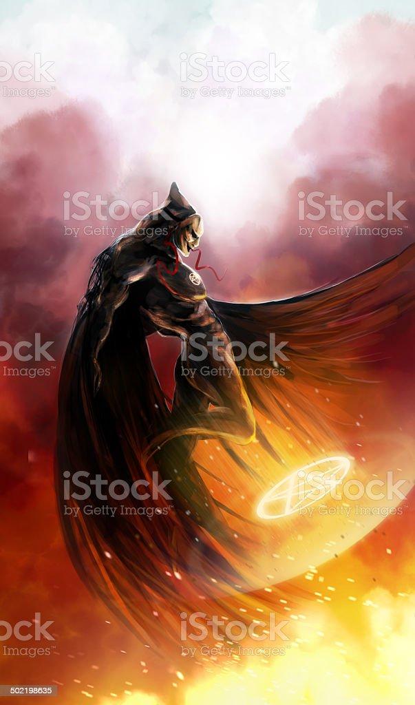 Demon flying vector art illustration