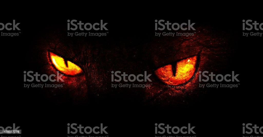 Demonic eyes vector art illustration