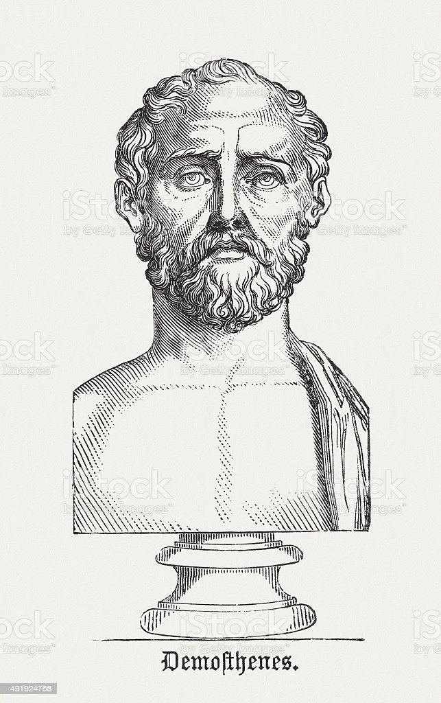 Demosthenes - Ancient Greek statesman, published in 1878 vector art illustration