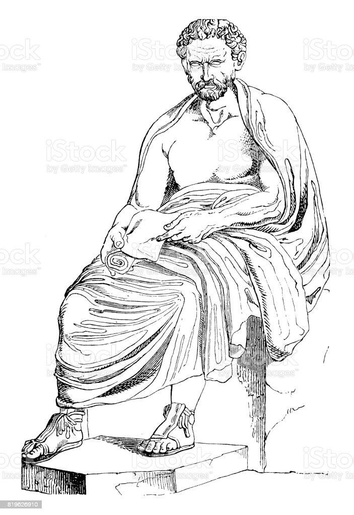 Demosthenes (384 BC-322 BC) Greek statesman vector art illustration