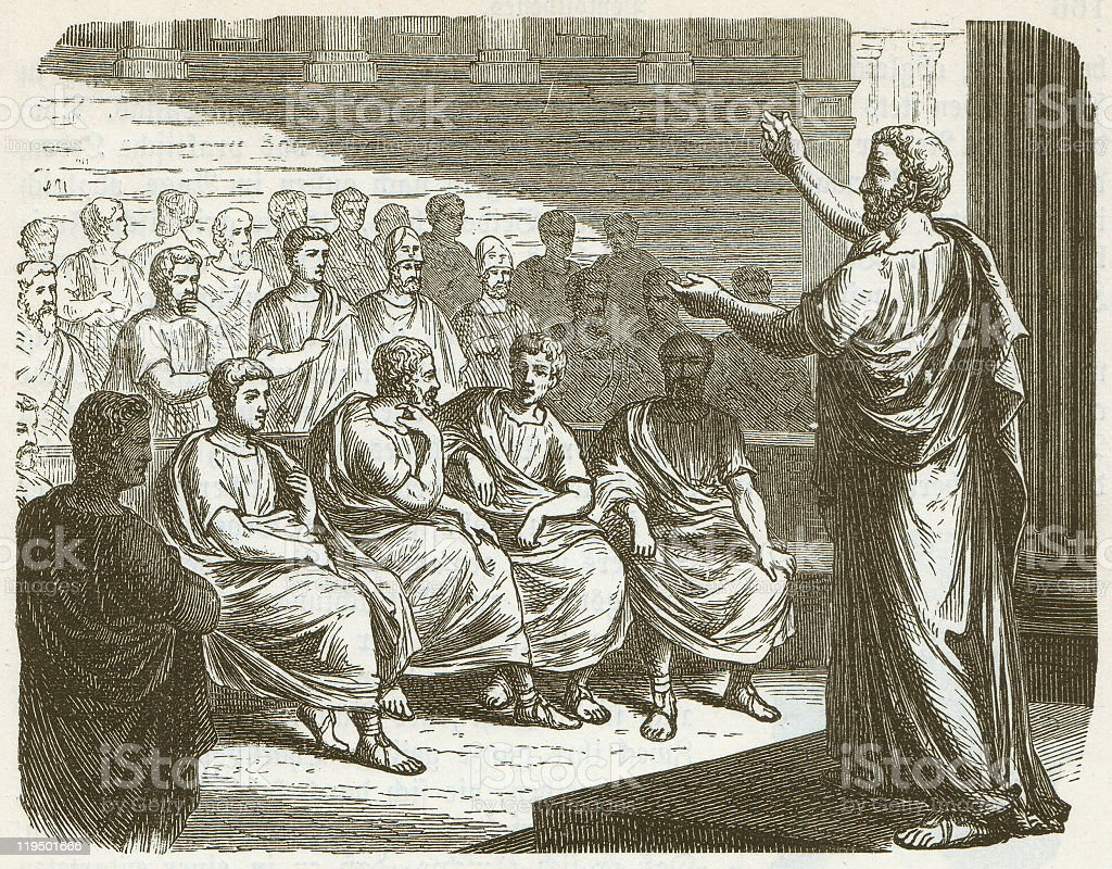Demosthenes (384 BC-322 BC), wood engraving, published in 1882 royalty-free stock vector art