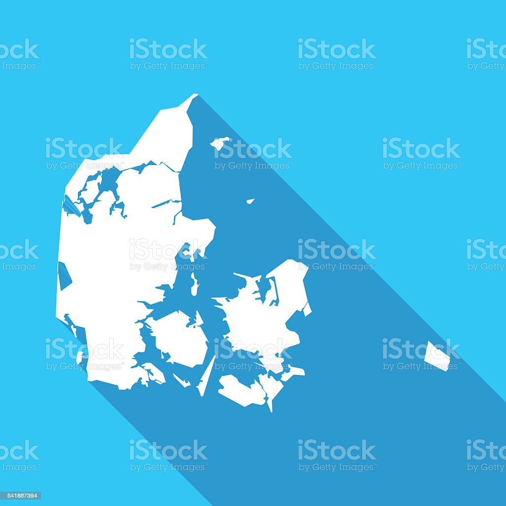Denmark long shadow map in white on a blue background vector art illustration