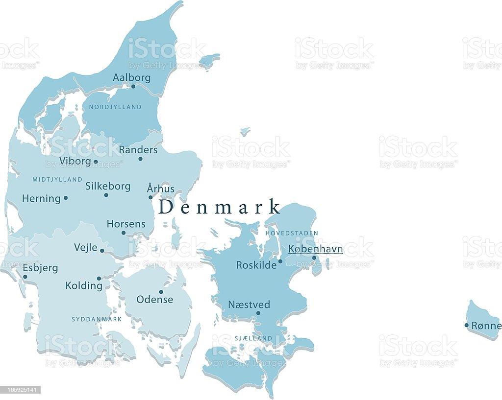 Denmark Vector Map Regions Isolated vector art illustration