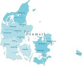 Denmark Vector Map Regions Isolated