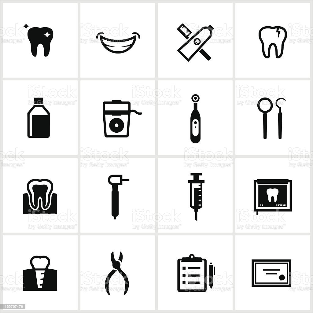 Black Dental Icons vector art illustration