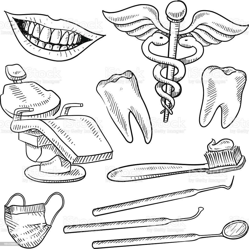 Dentist's office objects sketch royalty-free stock vector art