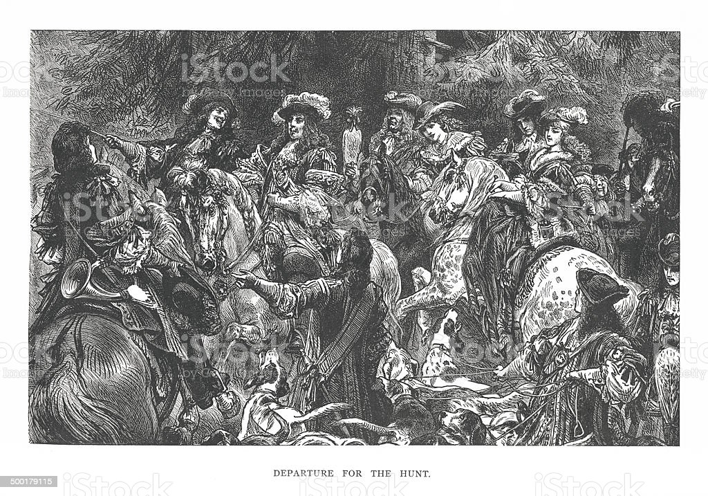 Departure for the Hunt (antique engraving) royalty-free stock vector art