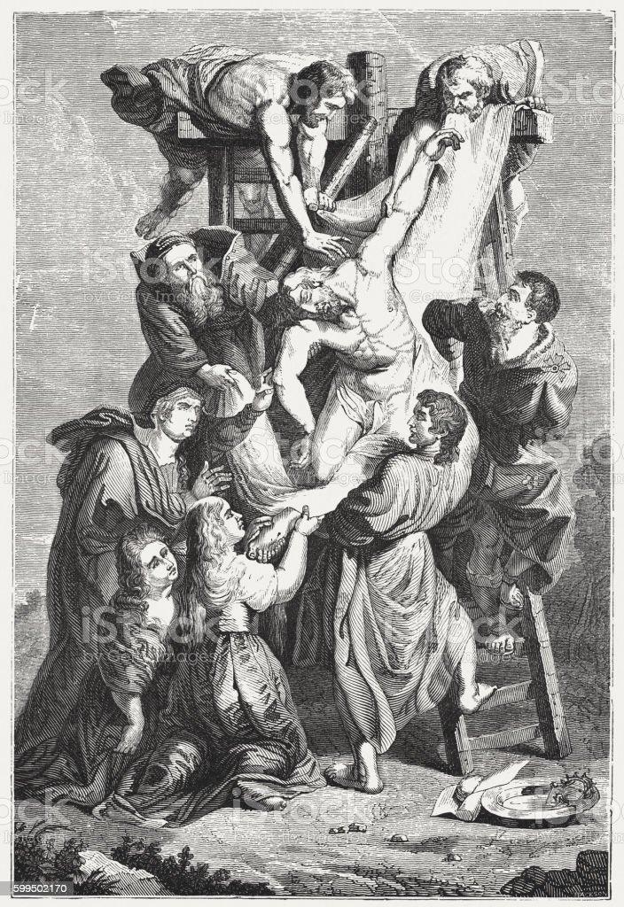 Deposition of Christ, wood engraving after Rubens, published 1855 vector art illustration