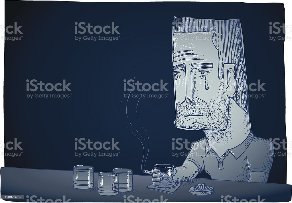 Depressed Drinking Man vector art illustration