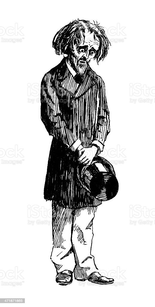Depressed-looking Victorian man royalty-free stock vector art