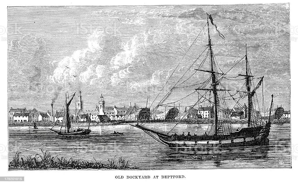 Deptford Dockyard royalty-free stock vector art