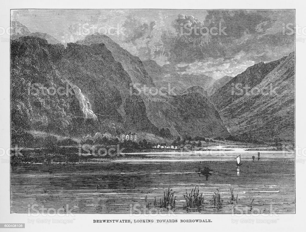 Derwentwater and Borrowdale, Keswick, England Victorian Engraving, 1840 vector art illustration