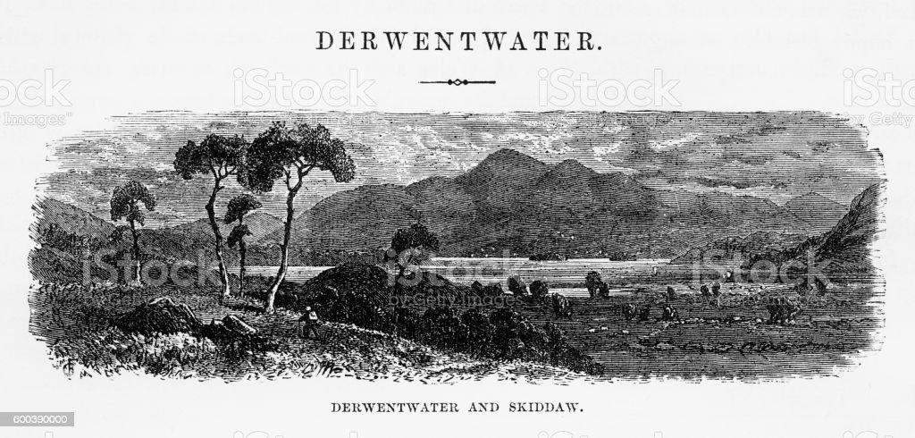 Derwentwater and Skiddaw, Keswick, England Victorian Engraving, 1840 vector art illustration
