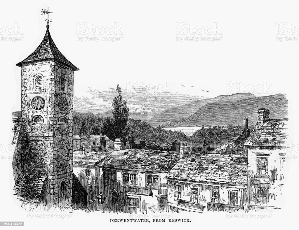 Derwentwater from Keswick, England Victorian Engraving, 1840 vector art illustration