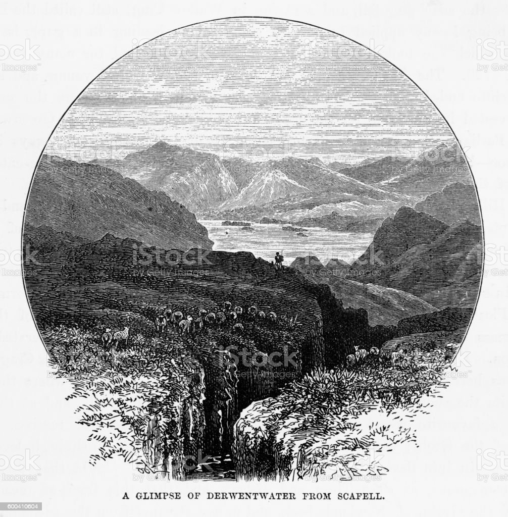 Derwentwater from Scafell, Keswick, England Victorian Engraving, 1840 vector art illustration
