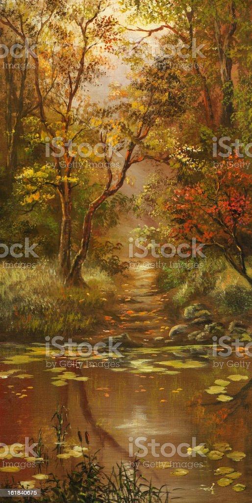 Descent to a pond vector art illustration
