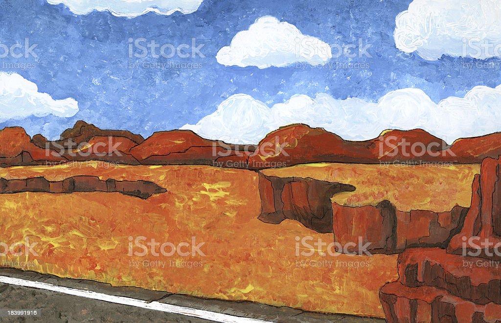 Desert Highway - Illustration royalty-free stock vector art
