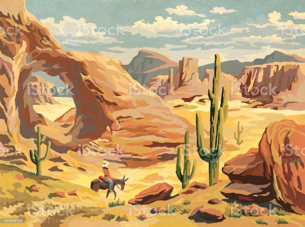 Desert Landscape With Cowboy vector art illustration