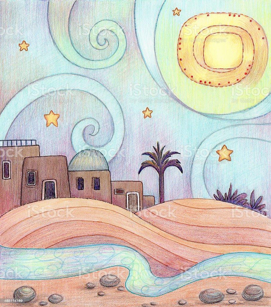 Desert Night vector art illustration