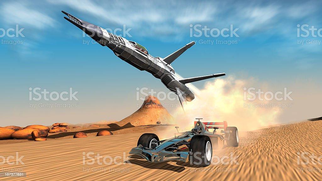 desert race vector art illustration