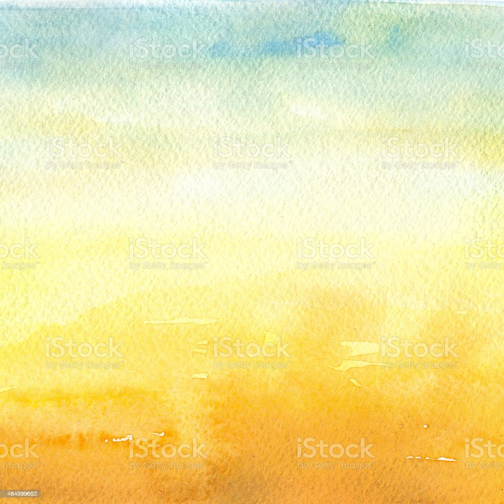 Desert - Watercolor Background vector art illustration