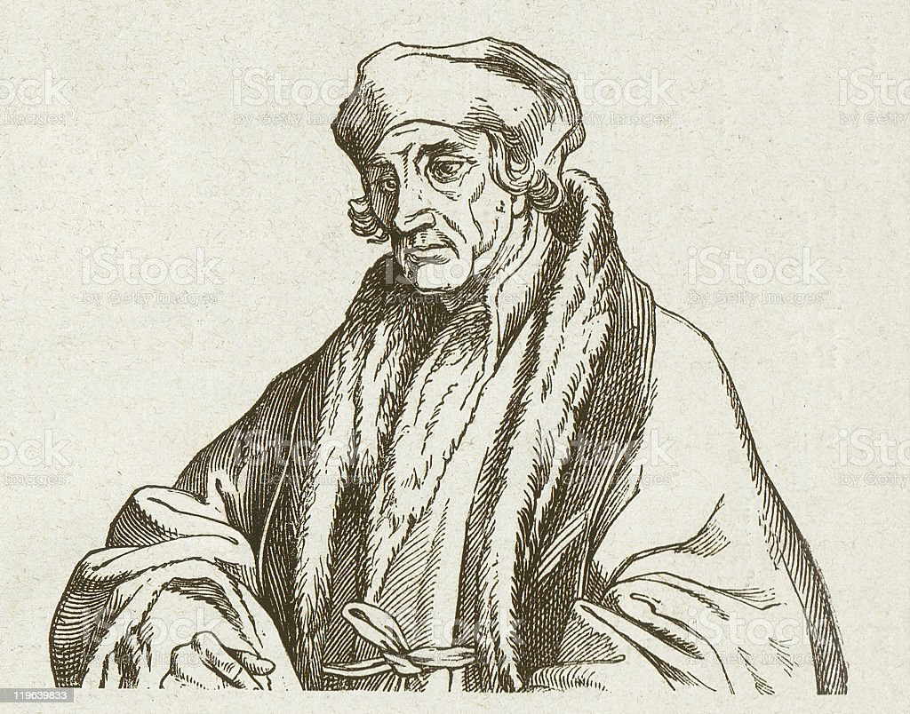 Desiderius Erasmus (1466-1536), wood engraving, published in 1877 royalty-free stock vector art