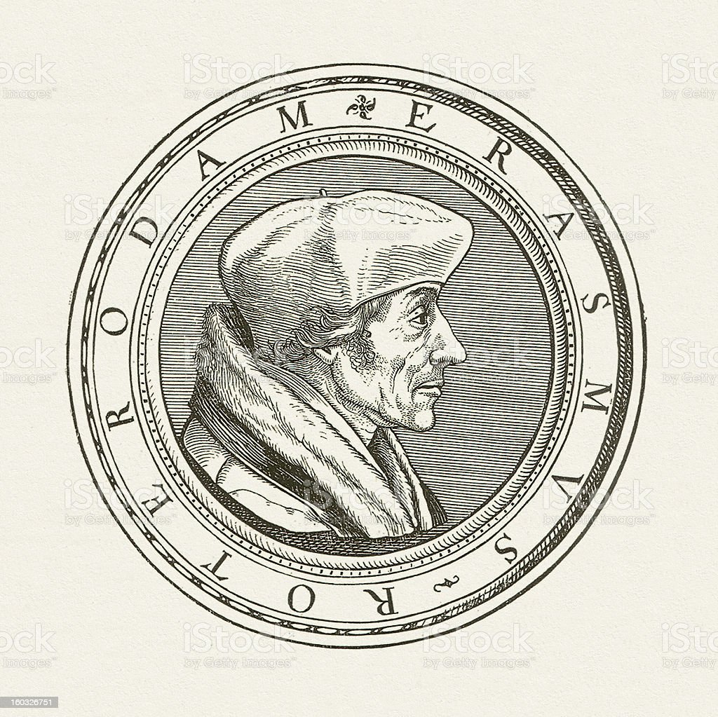 Desiderius Erasmus (1466 - 1536) vector art illustration