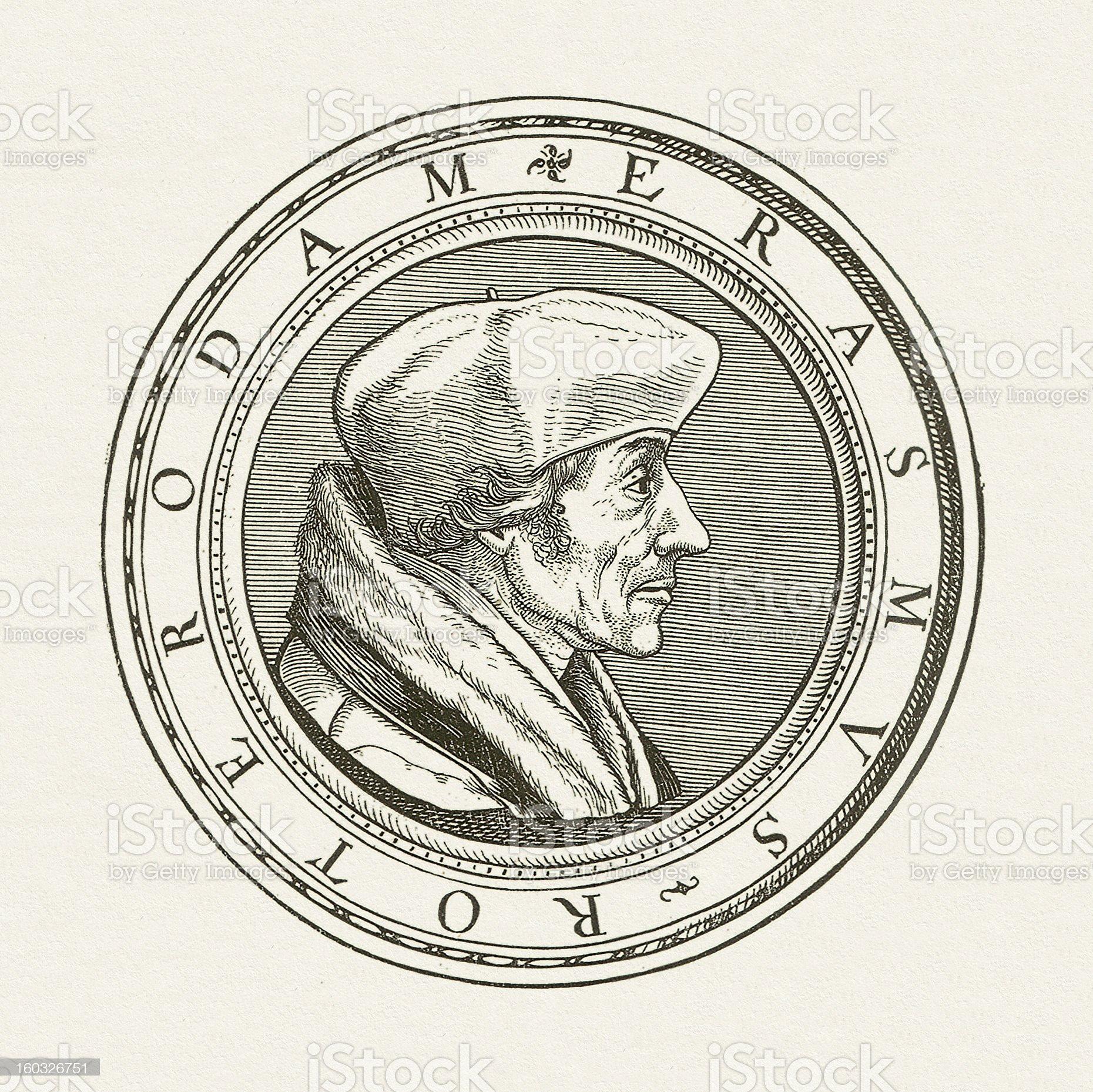 Desiderius Erasmus (1466-1536), wood engraving, published in 1881 royalty-free stock vector art