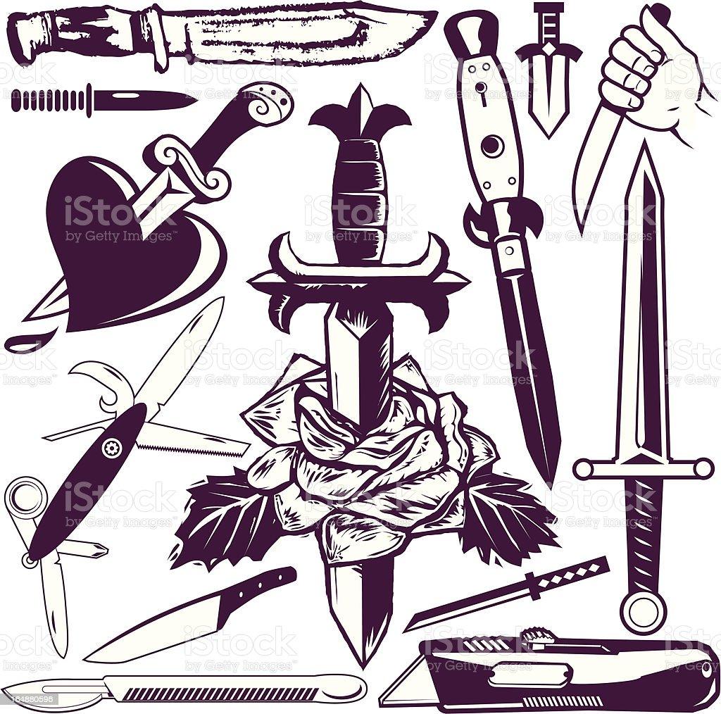 Design Elements - Knives & Daggers vector art illustration