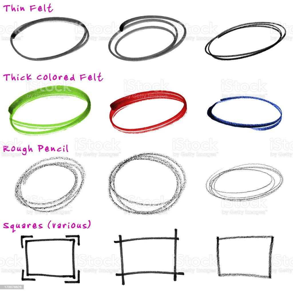 Design Elements: Rough, Hand-drawn Circles royalty-free stock vector art