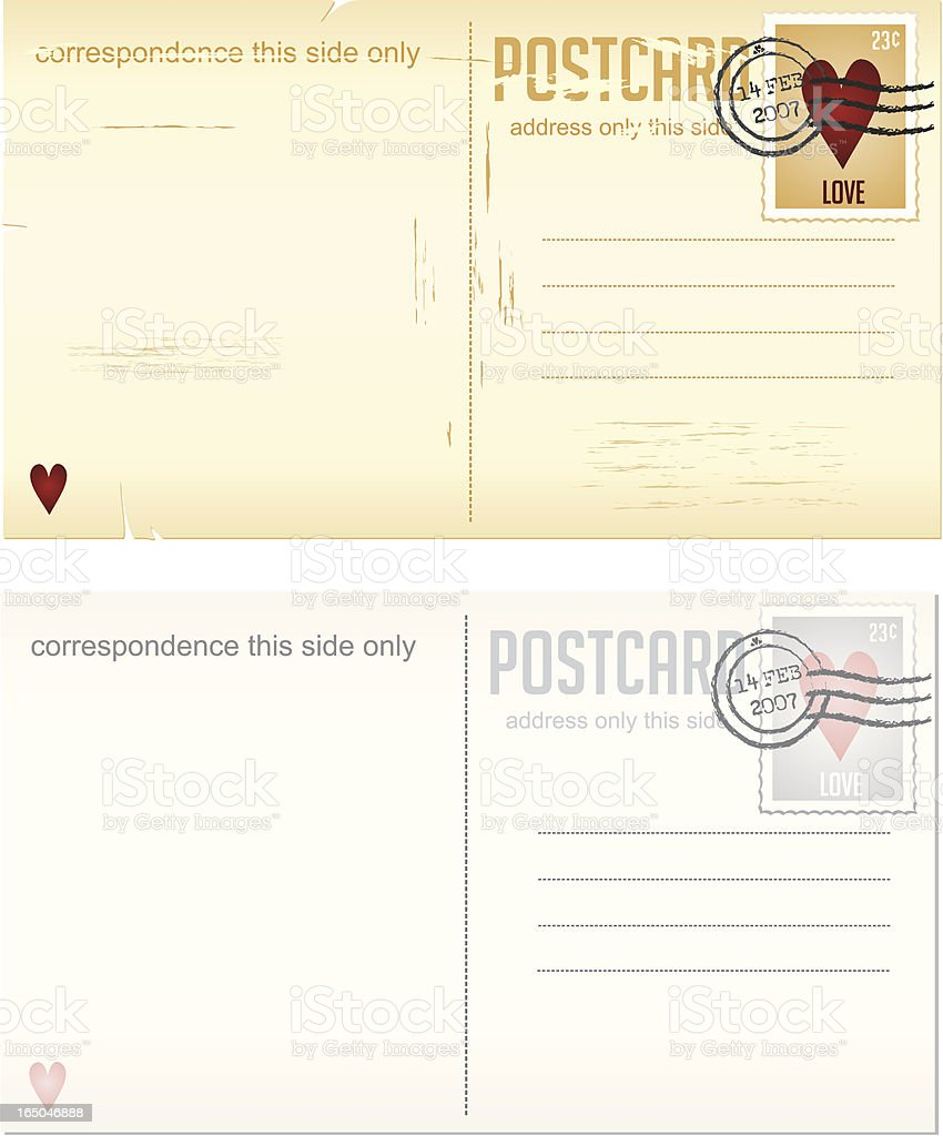 Design Elements Series - Valentine's Postcards with love stamps royalty-free stock vector art