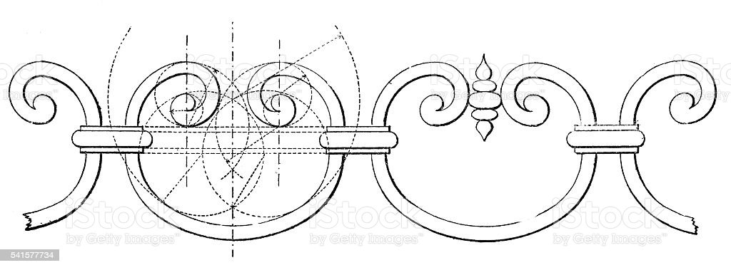 Design of ornamental ironwork stock photo