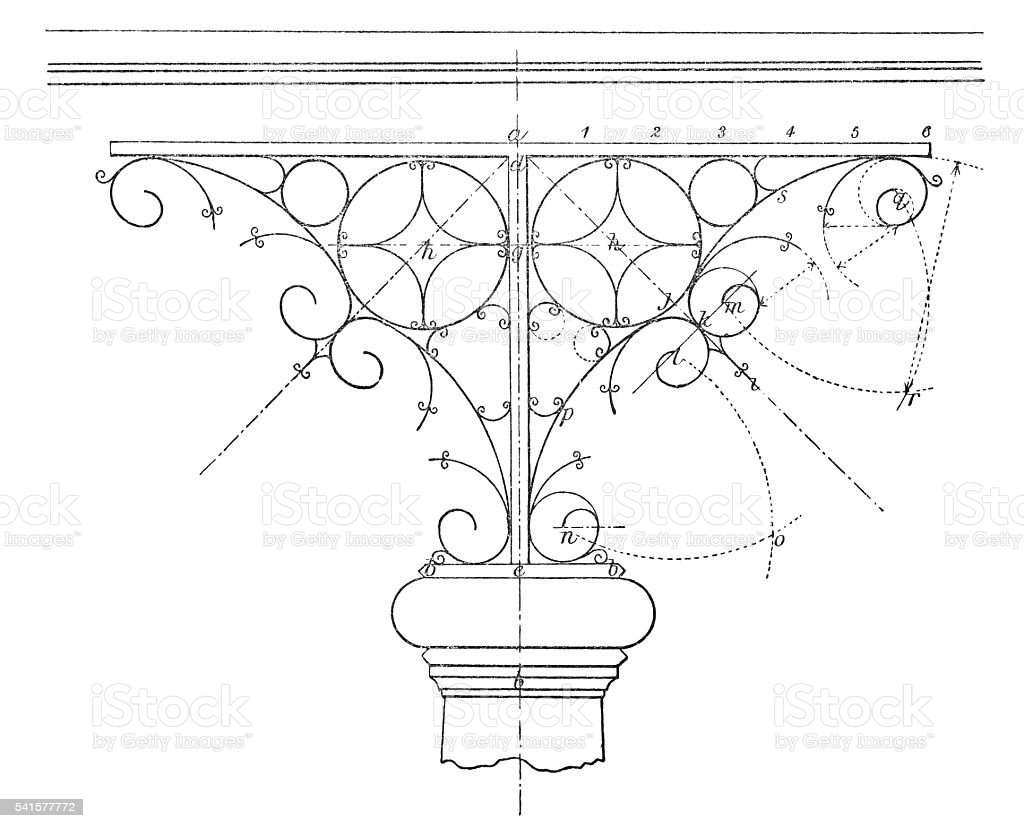 Design of ornamental wrought iron bracket stock photo