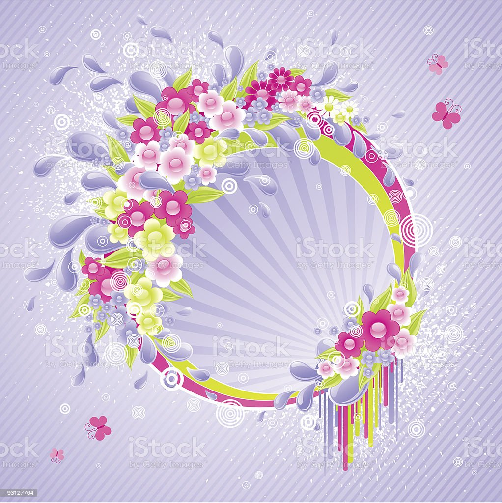 Design with drops and flowers. royalty-free stock vector art