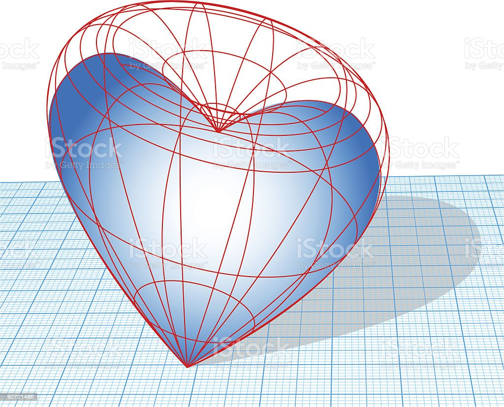 Designing Heart Wireframe 3D Design royalty-free stock vector art