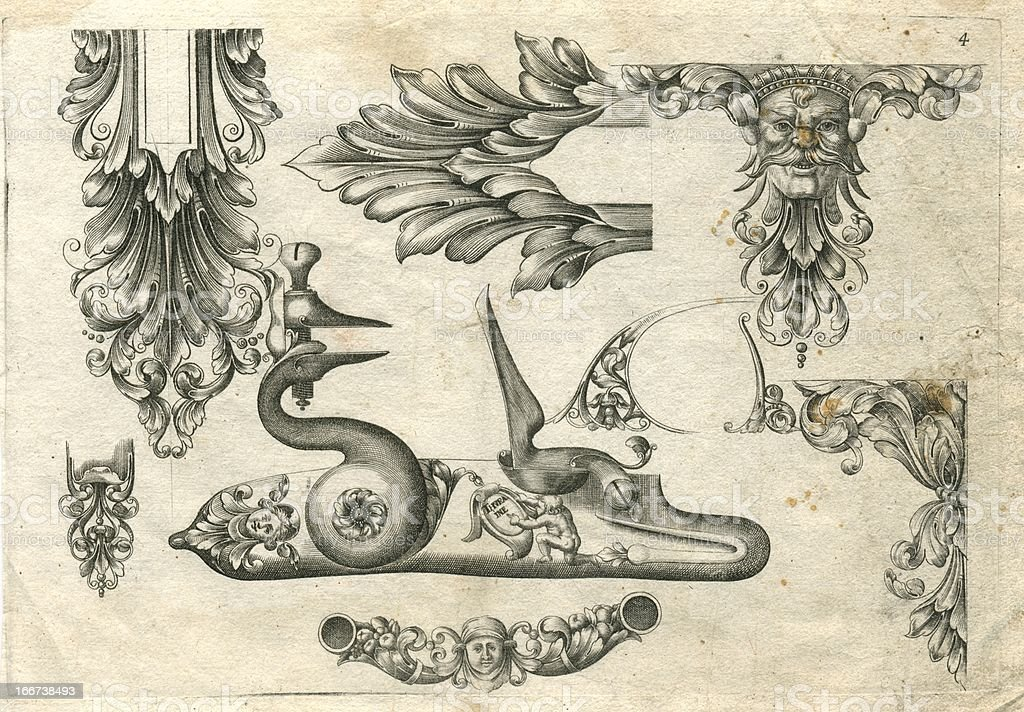 Designs for ornamental gun fittings 17th century arquebus vector art illustration