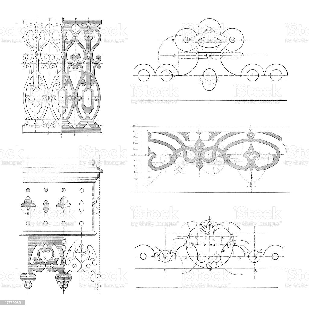 Designs of ornamental woodwork vector art illustration