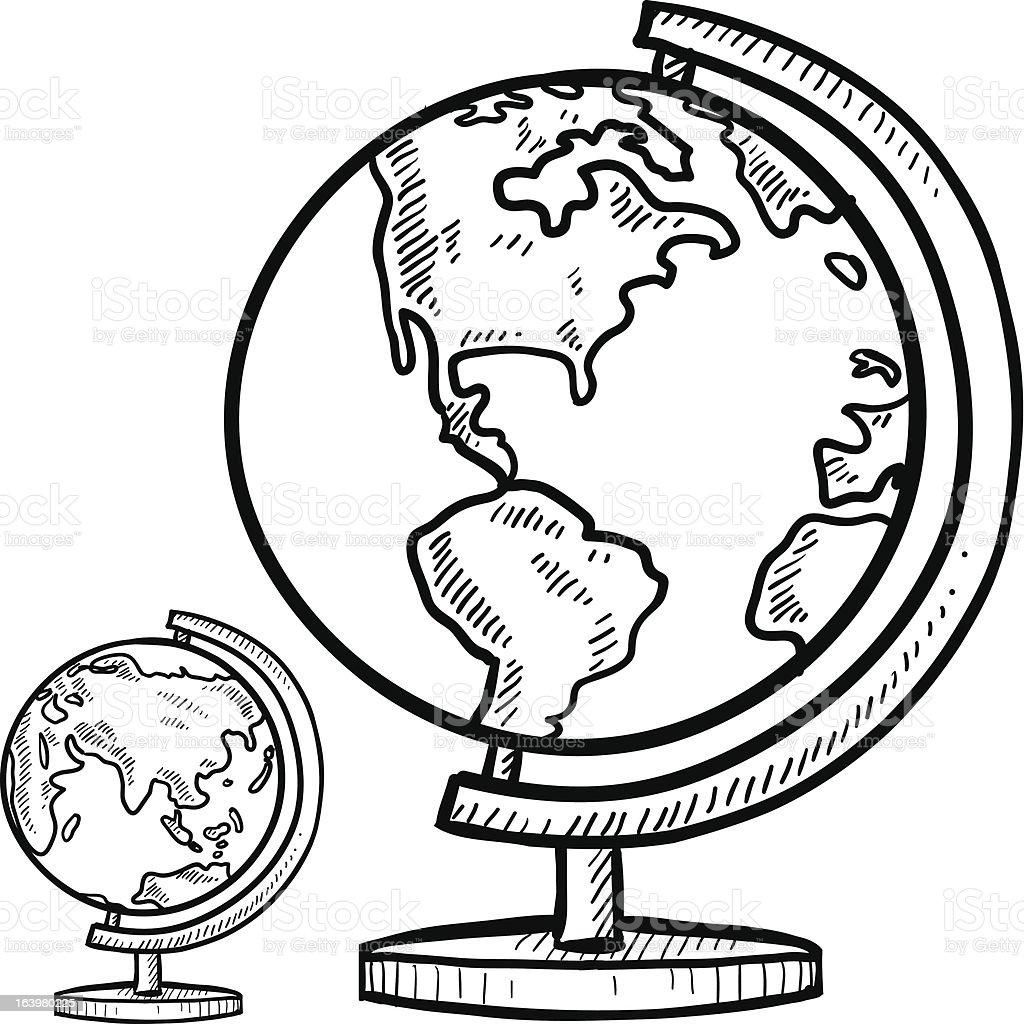 Line Drawing Globe : Globe terrestre sur pied croquis stock vecteur libres de