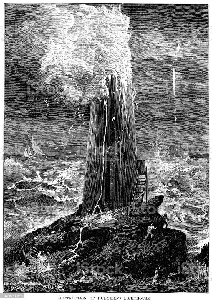 Destruction of Rudyerd's Lighthouse vector art illustration