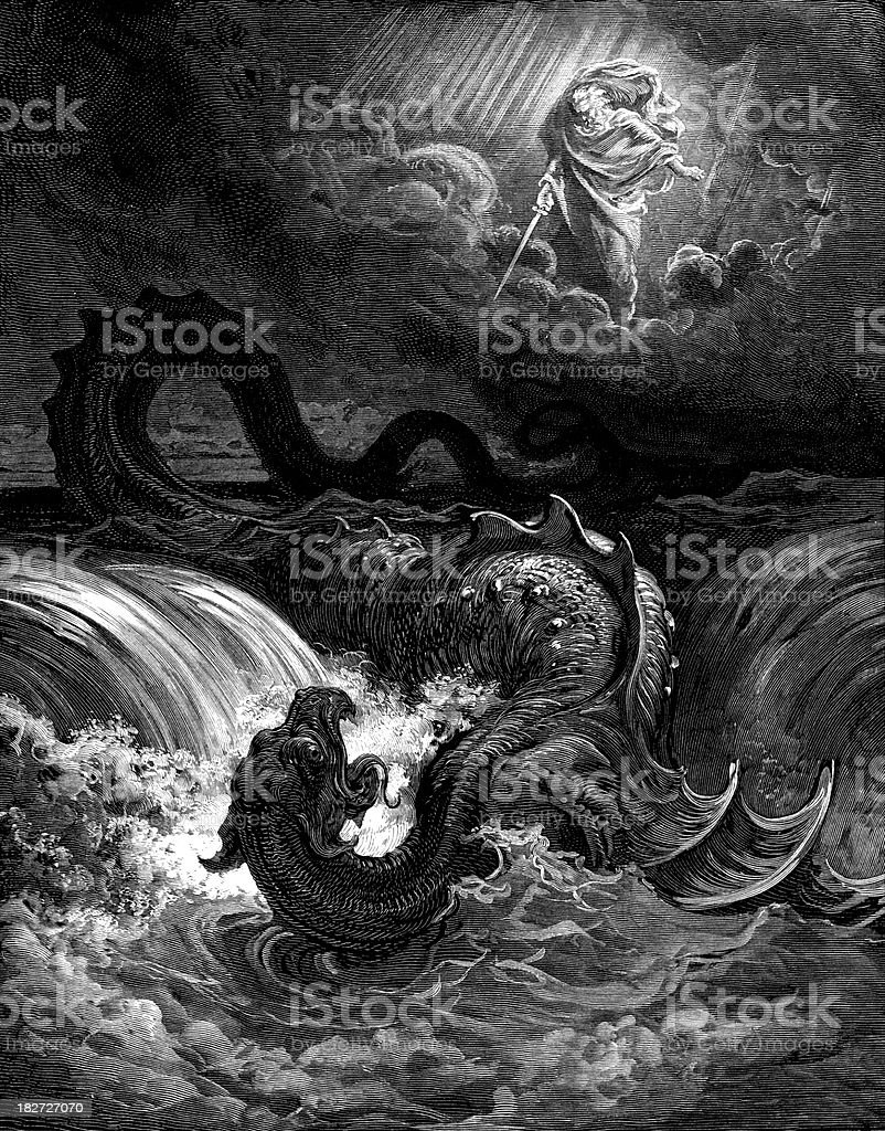 Destruction of the Leviathan royalty-free stock vector art